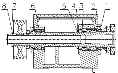 床头箱:床头箱主轴前轴承采用双列圆柱滚子轴承和双向推力接触球轴承图片